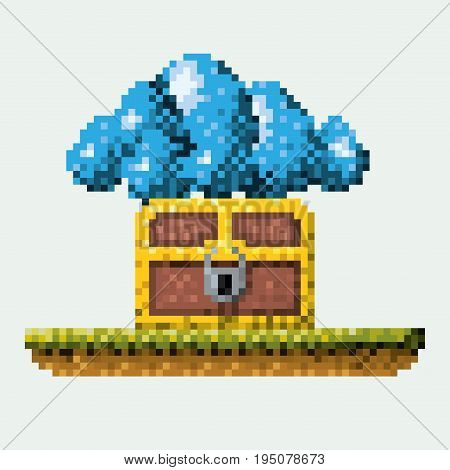 color pixelated image meadow with coffer with padlock and cumulus cloud vector illustration