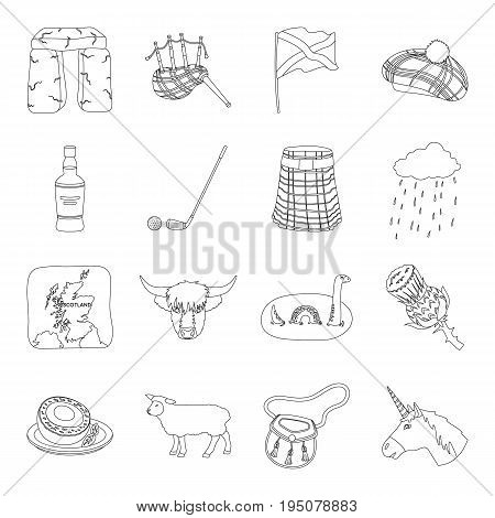 Kilt, bagpipes, thistles are national subjects of Scotland. Scotland set collection icons in line style vector symbol stock illustration .