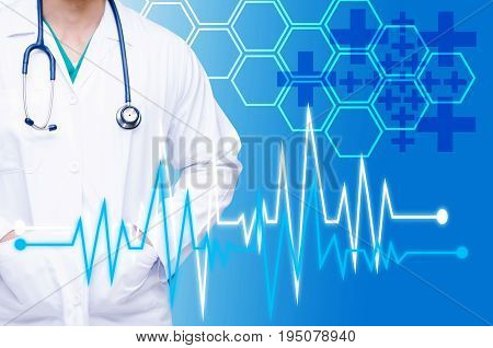 smart doctor with a stethoscope around his neck on blue color tone background with heartbeat line and hexagon shaped pattern background heart health care and medical technology concept