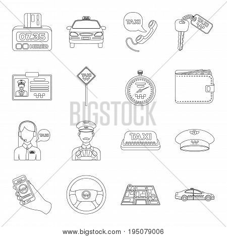 Parking, dispatcher, taxi driver are all for taxi service. Taxi set collection icons in line style vector symbol stock illustration.