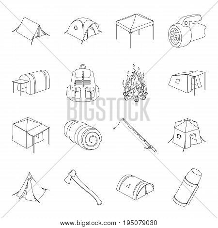 Various kinds of tents and other tourist accessories. The tent set collection icons in line style vector symbol stock illustration .