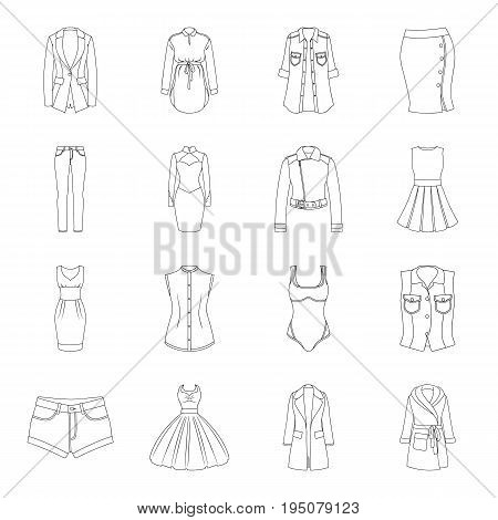 Dress, sarafan, coats of women's clothing. Women's clothing set collection icons in line style vector symbol stock illustration .