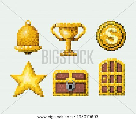 color pixelated set of golden elements arcade game vector illustration