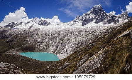 Famous view from Punta Union Pass on Santa Cruz trek, Huascaran NP, Peru