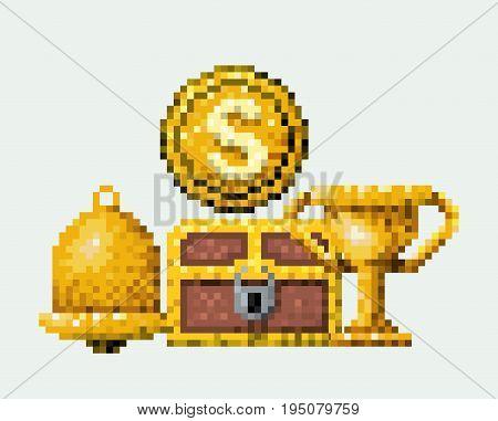 color pixelated set of golden prize elements arcade game vector illustration