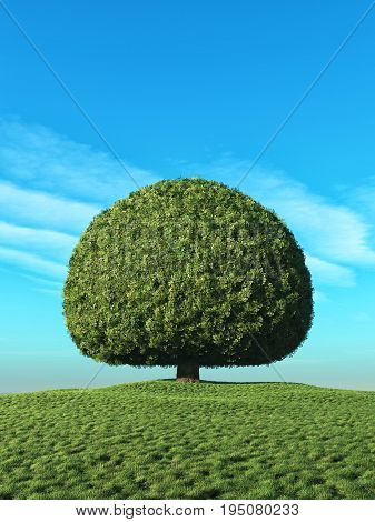 A perfect tree with green leaves in the shape of sphere on the hill. This is a 3d render illustration
