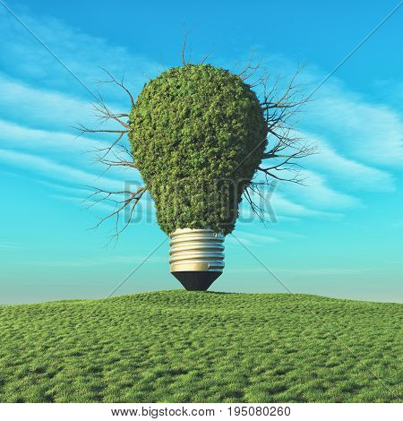 A light bulb with green tree on the hill. This is a 3d render illustration