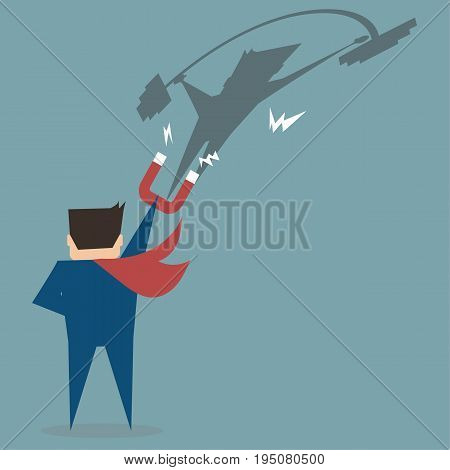 Business man use magnet sucking stronger man in weight lifting shadow,flat vector design concept.