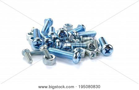 Screws and screw-nuts on the white background