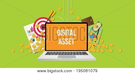 digital asset concept illustration with laptop text on screen gold coin money falling down with goals graph chart paperwork as background vector