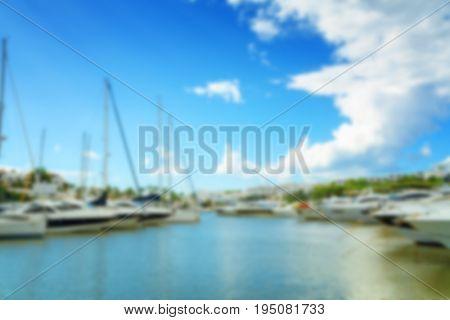 Blur abstract background yacht club Mallorca