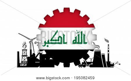 Energy and Power icons set with flag of the Iraq. Sustainable energy generation and heavy industry. 3D rendering.
