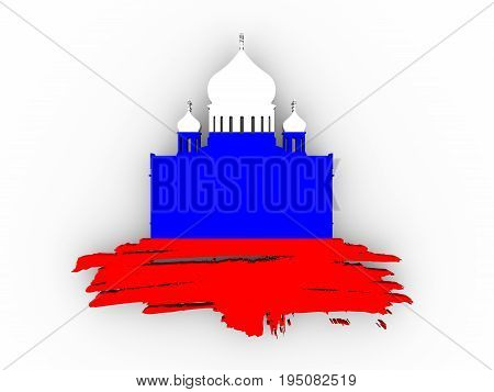 Cathedral of Christ the Savior in Moscow. Simple silhouette on grunge brush. 3D rendering