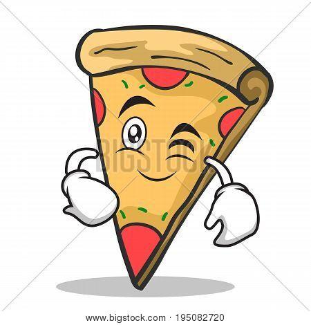Wink face pizza character cartoon vector illustration