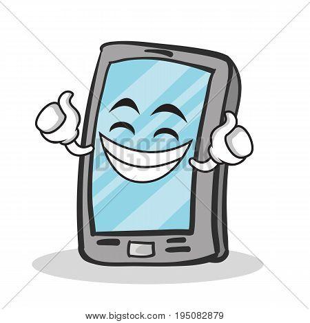 Proud face smartphone cartoon character vector illustration