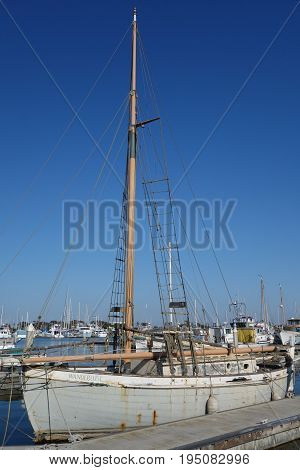 OXNARD CA USA - JULY 4 2013: Classic wooden ocean schooner in Oxnard marina Ventura county California
