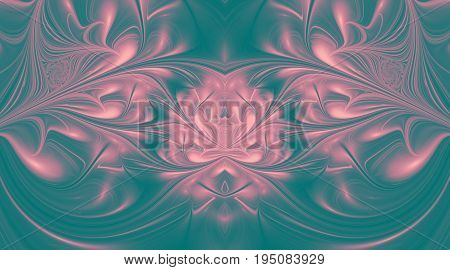 Abstract Glossy Exotic Flowers. Fantasy Symmetric Fractal Design In Pastel Violet Colors. Digital Ar