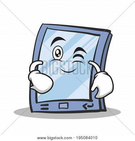 Wink face tablet character cartoon style vector illustration