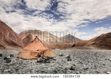 A lone canvas tent in Nubra Valley in Ladakh, India