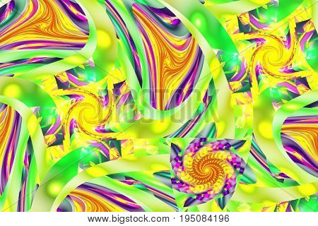 Abstract Exotic Floral Ornament In Yellow, Green, Red And Pink Colors. Fantasy Fractal Design. Psych