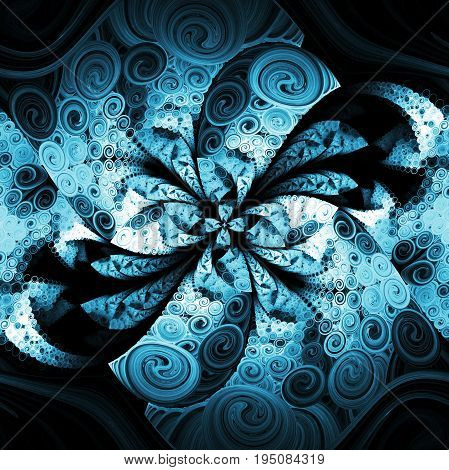 Exotic Blue Flower With Textured Petals On Black Background. Abstract Symmetrical Floral Design. Fan