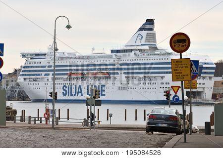 HELSINKI FINLAND - MARCH 17: Ferry boat SILJA LINE in port of Helsinki Finland at March 17 2016. The ferry Silja Line make regular flights between Helsinki and Stockholm