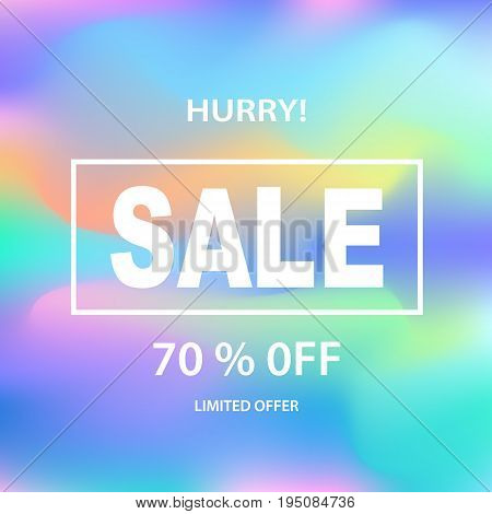 Sale banner template for online shopping, mobile, website design. Social media poster, promotional material, ads, email marketing. Holographic neon background. Vector Illustration