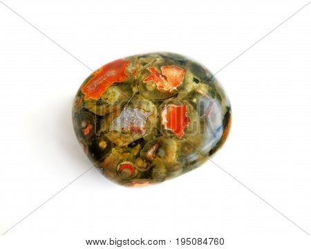 Natural gemstone jasper close-up beautiful texture of gemstone
