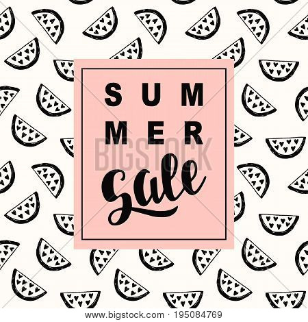 Summer Sale promotional banner template in trendy colors, watermelon pattern. Website, mobile,  email marketing. E-commerce poster, flyer design with lettering. Vector illustration
