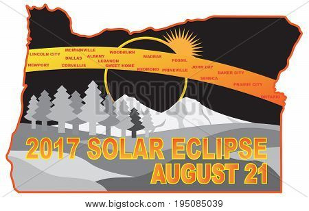 2017 Solar Eclipse Totality across Oregon State cities map color illustration