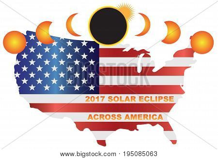 2017 Solar Eclipse Totality across America USA map color illustration