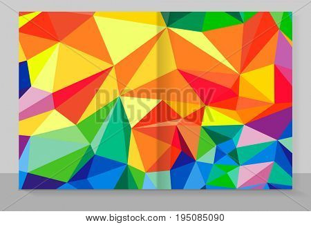 Cover copybook with triangle pattern, abstract background, geometric design.