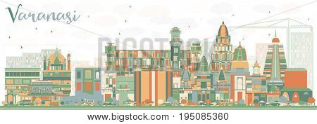 Abstract Varanasi Skyline with Color Buildings. Business Travel and Tourism Concept with Historic Architecture. Image for Presentation Banner Placard and Web Site.