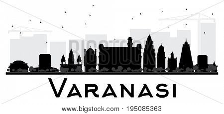 Varanasi City skyline black and white silhouette. Simple flat concept for tourism presentation, banner, placard or web site. Cityscape with landmarks.