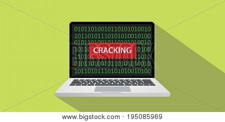 cracking concept illustration with laptop comuputer and text banner on screen with flat style and long shadow vector