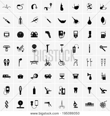 Set of sixty four different medical equipments