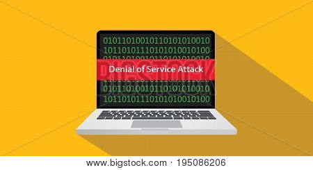 denial of service attack dos concept illustration with laptop comuputer and text banner on screen with flat style and long shadow vector