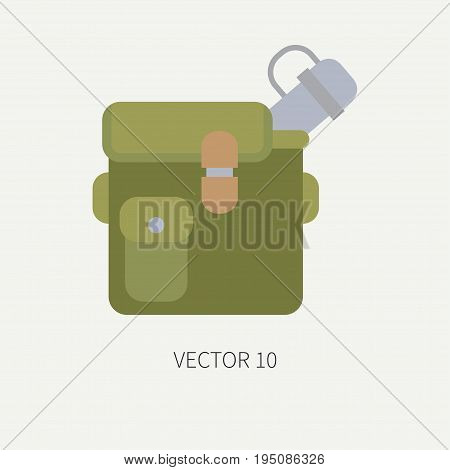 Line tile color vector hunt and camping icon jar, bottle. Hunter equipment, armament. Retro cartoon style. Wildlife travel. Camouflage. Forest. Illustration and element for your design, wallpaper.