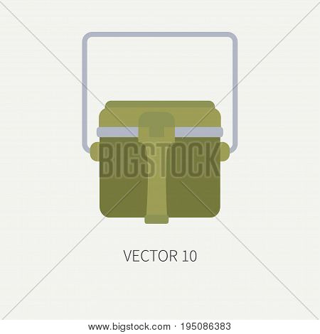 Line tile color vector hunt and camping icon - kettle. Hunter equipment, armament. Retro cartoon style. Wildlife travel. Camouflage. Forest. Food. Illustration and element for your design, wallpaper