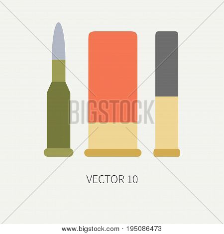 Line tile color vector hunt and camping icon cartridge set. Hunter equipment, armament. Retro cartoon style. Wildlife travel. Camouflage. Forest. Gun. Illustration and element for design, wallpaper.