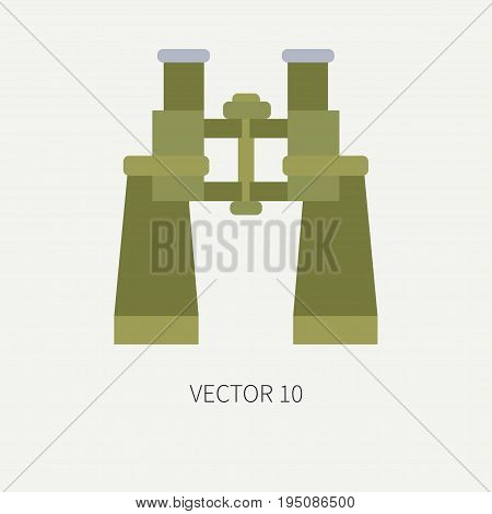 Line tile color vector hunt and camping icon binoculars. Hunter equipment, armament. Retro cartoon style. Wildlife travel. Camouflage. Forest. Illustration and element for your design, wallpaper.
