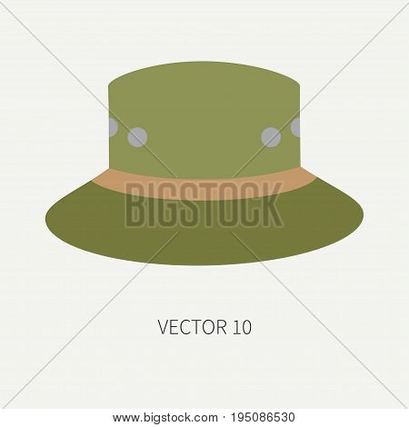 Line tile color vector hunt and camping icon hat, cap, beret. Hunter equipment, armament. Retro cartoon style. Wildlife travel. Camouflage. Forest. Illustration and element for design, wallpaper