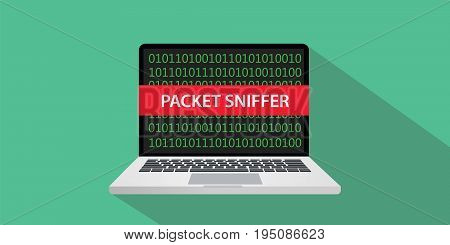 packet sniffer concept illustration with laptop comuputer and text banner on screen with flat style and long shadow vector