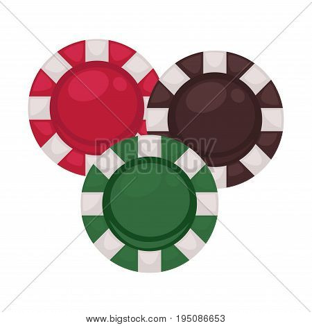 Three casino chips in red, brown and green colors isolated on white. Vector colorful illustration of closeup flat circles with light stripes around for playing in special gambling establishments