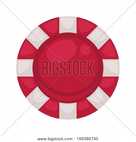 Red round poker chip with striped edges isolated cartoon vector illustration on white background. Special equipment for gambling. Fake money to do stakes in card games or roulette at casino.