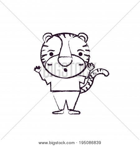 blurred silhouette caricature of cute tiger astonished expression in clothes vector illustration