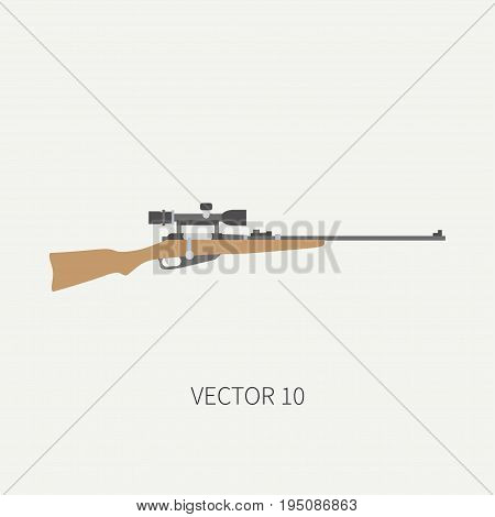 Line tile color vector hunt and camping icon sniper rifle. Hunter equipment, armament. Retro cartoon style. Wildlife travel. Camouflage. Forest. Aim. Illustration and element for design, wallpaper.