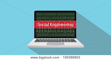 social engineering concept illustration with laptop comuputer and text banner on screen with flat style and long shadow vector
