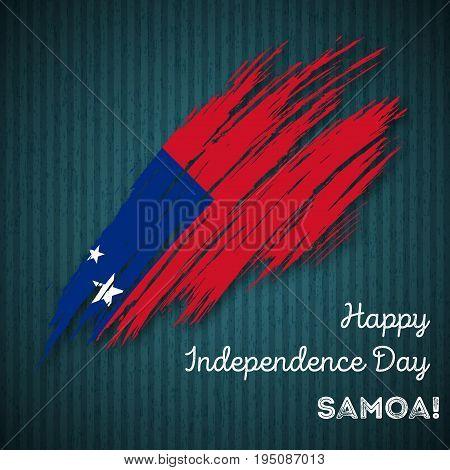 Samoa Independence Day Patriotic Design. Expressive Brush Stroke In National Flag Colors On Dark Str