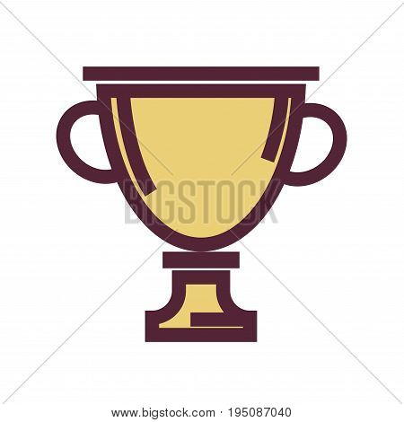Golden trophy cup with thick maroon outline isolated flat vector illustration on white background. Honorable award for outstanding achievements in sport or education. Cartoon reward for winner.